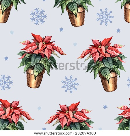 Seamless watercolor flowers poinsettia.  Hand painting. Watercolor. Seamless pattern for fabric, paper and other printing and web projects. - stock vector