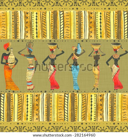 Seamless watercolor pattern pattern with beautiful African woman. - stock vector