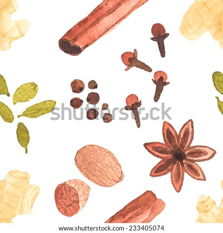 Seamless watercolor pattern with cinamon, ginger,cloves,allspice,cardamom, nutmeg, star anise, aquarelle.  Vector illustration. Spices for mulled wine. Useful for invitations, scrapbooking, design. - stock vector