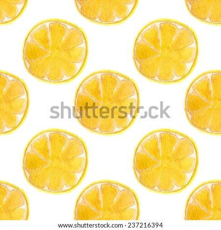 Seamless watercolor pattern with lemons on the white background, aquarelle.  Vector illustration. Hand-drawn background. Original fruit background. Useful for invitations, scrapbooking, design. - stock vector