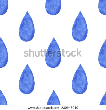 Vector Watercolor Rain Drops Seamless Background Stock Vector