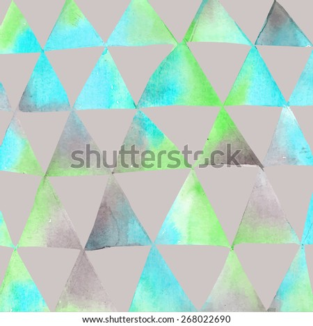 Seamless watercolor pattern with triangles. Triangles pattern of geometric shapes. Vector illustration. Bright shapes and gray backdrop. - stock vector