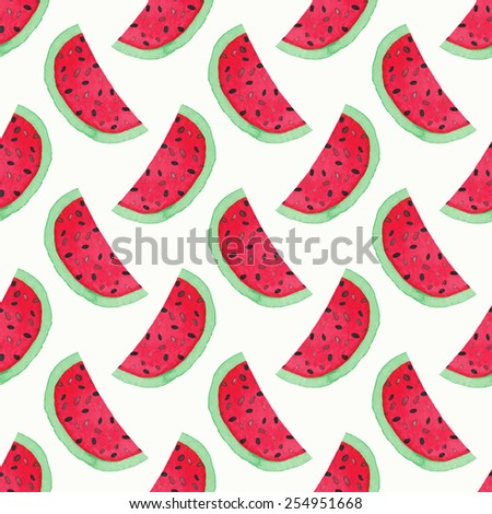 Seamless watercolor pattern with watermelon slices on the white background, aquarelle. Vector illustration. Hand-drawn original fruit background. Useful for invitations, scrapbooking, design. - stock vector