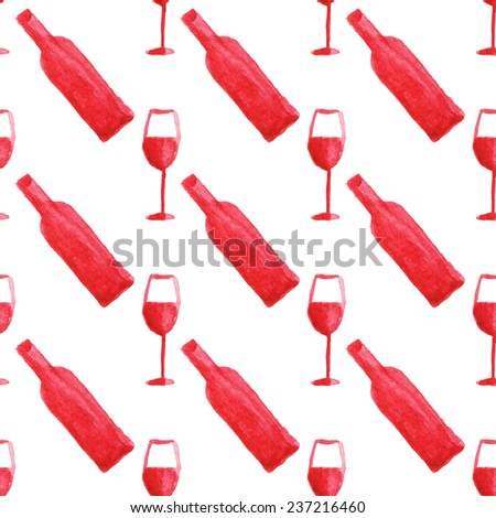 Seamless watercolor pattern with wine bottle and glass on the white background, aquarelle.  Vector hand-drawn background. Original wine theme background. Useful for invitations, scrapbooking, design. - stock vector