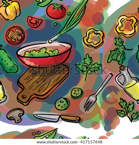 seamless watercolor sketch of  ingredients for salad