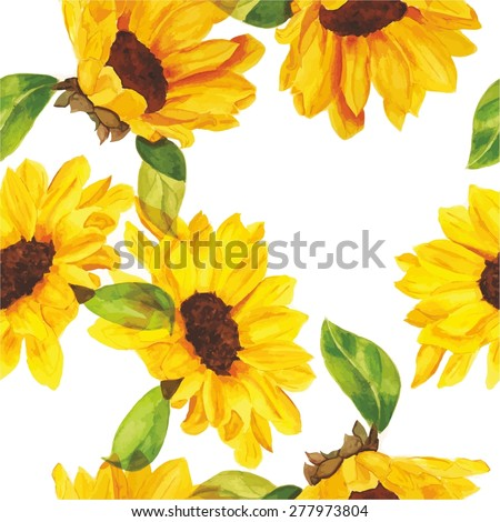 Seamless watercolour sunflowers pattern, scalable vector graphic - stock vector