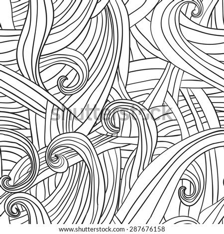 Seamless wave hand-drawn pattern, waves background .Can be used for wallpaper, pattern fills, web page background,surface textures. Gorgeous seamless floral background Vector - stock vector