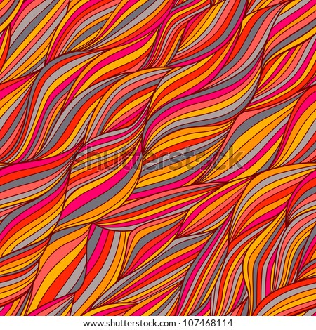 Seamless wave hand-drawn pattern, waves background (seamlessly tiling).Can be used for wallpaper, pattern fills, web page background,surface textures. Gorgeous seamless floral background - stock vector