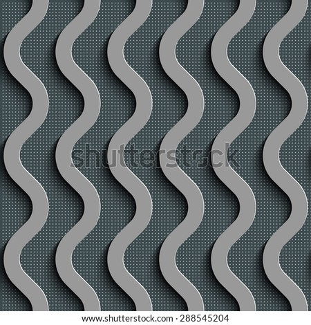 Seamless Wave Pattern. Curved Shapes Background. Regular Gray Texture - stock vector