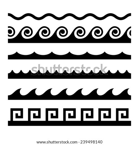Seamless Wave Pattern Set. Vector Template Illustration - stock vector
