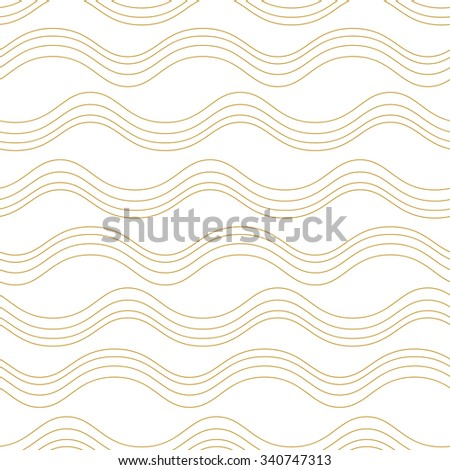 Seamless wave pattern, waves background.Gold and white texture.Can be used for wallpaper, pattern fills, web page background,surface textures. Plain seamless wave background.Vector illustration