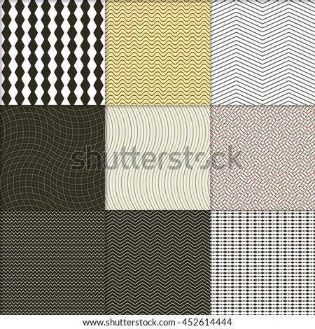 Seamless wave patterns with shadows in a separate layer, vector illustration. - stock vector