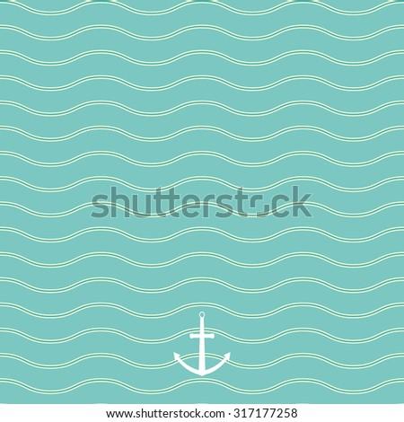 Seamless wavy line pattern. Marine theme. Vector Illustration. - stock vector