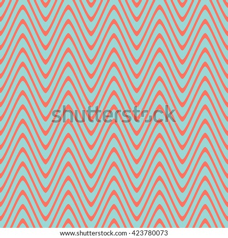 Seamless wavy stripes pattern with blue background. Vector repeating texture.