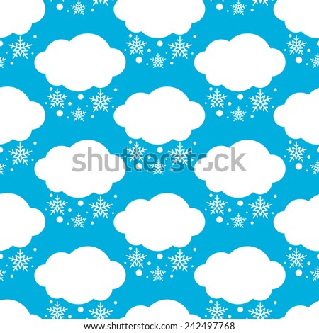 Seamless weather white winter clouds with snowflakes pattern over blue background