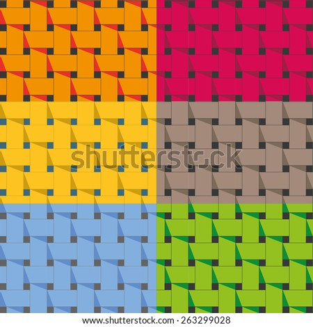 Seamless weave pattern set. Vector image. - stock vector