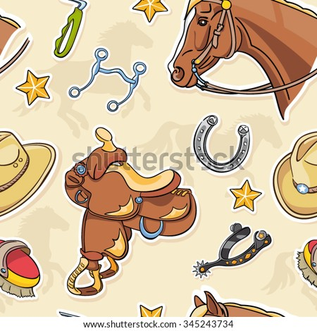 Seamless Western Riding Tack Background with saddle, horse head, horse shoe and spurs - stock vector