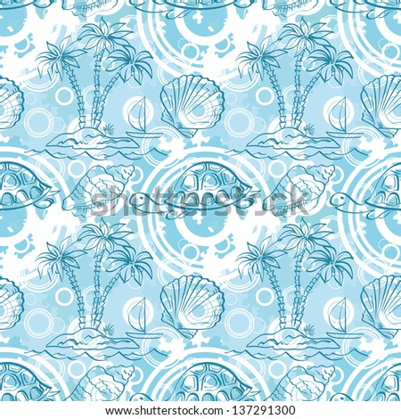 Seamless white and blue pattern. Sea island with palm trees, boat, turtles, shells, contours. Vector