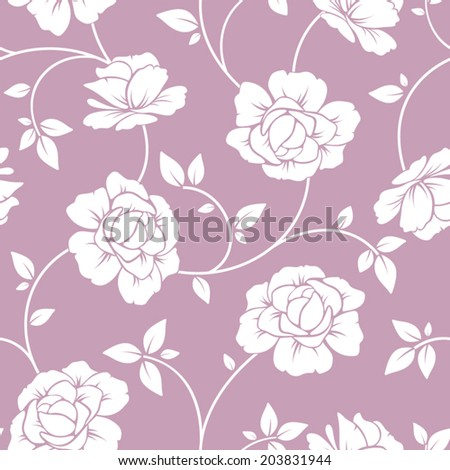 Seamless white floral pattern on purple. Vector illustration. - stock vector