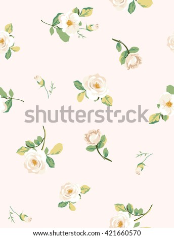 seamless white flower pattern with pink background - stock vector