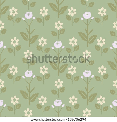 Seamless white flowers decorative pattern - stock vector