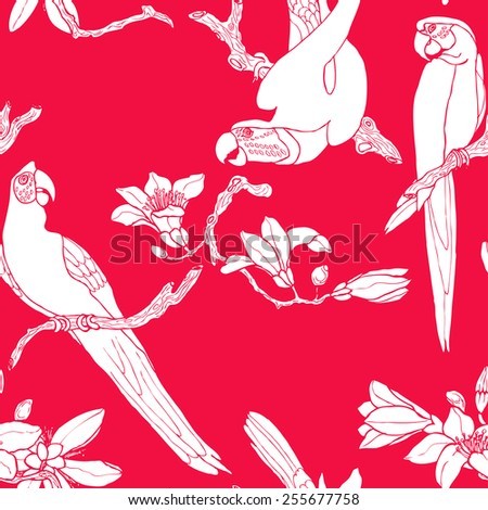 Seamless white parrot pattern in vector - stock vector