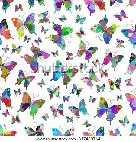 Seamless white pattern with colorful butterflies . Vector illustration. - stock vector