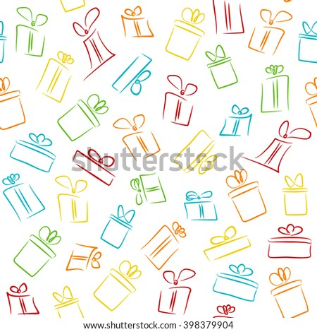 Seamless white pattern with colorful funny gift boxes. Vector pattern for fabric print, wrapping paper, gift card design
