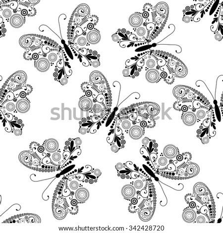Seamless white pattern with silhouettes lacy black-white  butterflies, vector eps10 - stock vector