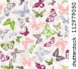 Seamless white pattern with silhouettes of colorful butterflies - stock photo