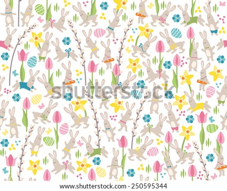 Seamless white pattern with white easter rabbits and spring flowers - stock vector