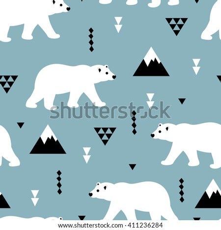 Seamless white polar bear arctic winter scandinavian kids design fabric background pattern in vector  - stock vector