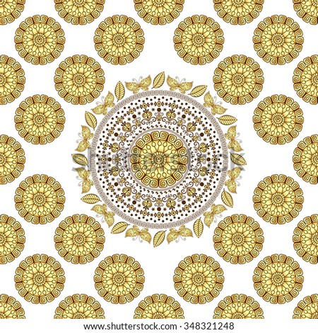 Seamless white vintage pattern with gold circles and mandala, vector  - stock vector
