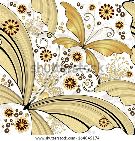Seamless white vintage pattern with gold striped butterflies (vector) - stock vector