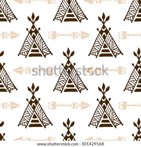 Seamless wigwam pattern with arrows. Hand-drawn indian background vector. Native american tent  sc 1 st  Shutterstock & Seamless Wigwam Pattern Arrows Handdrawn Indian Stock Vector ...