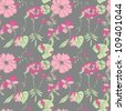 Seamless wild flower pattern in vector - stock vector