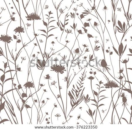Seamless wildflowers template.  - stock vector