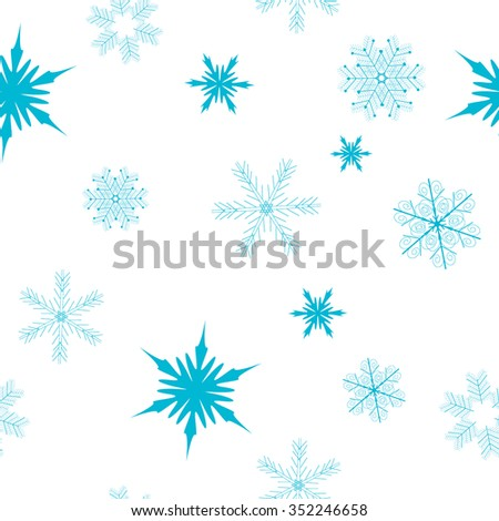 Seamless winter background with snowflakes - stock vector