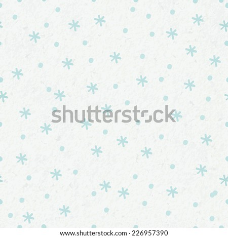 seamless winter background with snowflakes and snow on watercolor paper background - stock vector