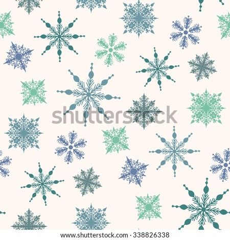 Seamless winter background with snowflakes. vector illustration - stock vector