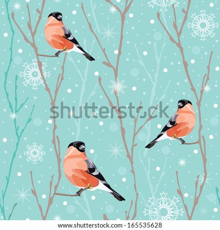 Seamless winter christmas background with bullfinch and snowflakes,vector pattern - stock vector