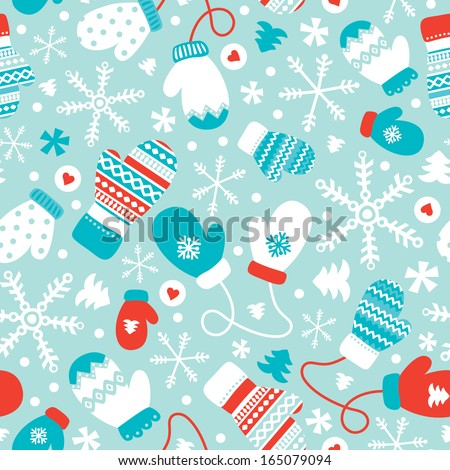 Seamless winter mittens and gloves christmas illustration background pattern in vector - stock vector