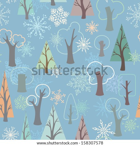 Seamless winter pattern. Ornate trees and snowflakes on blue background. EPS 8. - stock vector