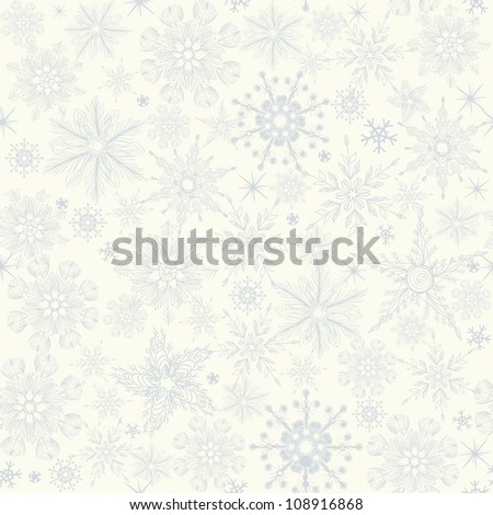 seamless winter pattern with blue snowflakes on white background - stock vector