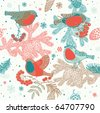 Seamless winter pattern with bullfinches and rowan - stock vector