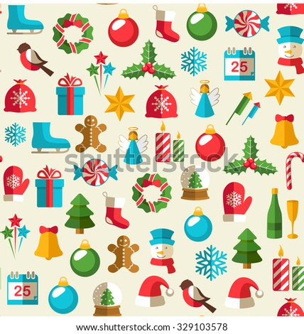 Seamless Winter Pattern with Christmas Flat Icons Isolated on Beige Background - stock vector