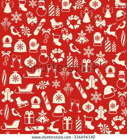 Seamless Winter Pattern with Christmas Icons Isolated on Red Background - stock vector