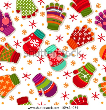 Seamless winter pattern with gloves and mittens - stock vector