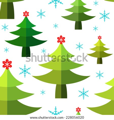 Seamless winter pattern with Pine trees