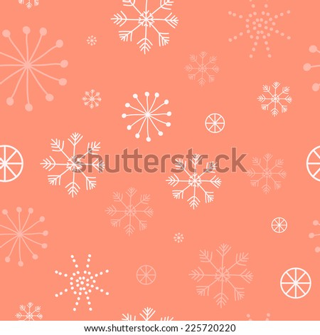 Seamless winter pattern with snowflakes. Christmas background. Pattern can be used for surface textures, wallpaper, pattern fills, web page background.  - stock vector